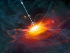 Rappresentazione artistica di ULAS J1120+0641, una quasar molto distante. (Credit: ESO/M. Kornmesser).
