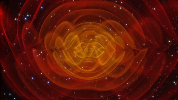 Rappresentazione artistica della collisione fra due buchi neri legata alla scoperta delle onde gravitazionali (fonte: LIGO)