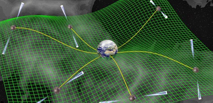 Rappresentazione artistica di uno studio temporale di pulsar in cui i segnali subiscono variazioni dovute alla deformazione del tessuto spazio-temporale