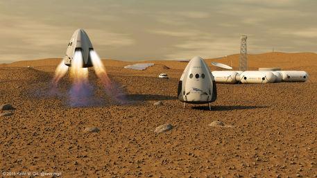 Rappresentazione artistica dell'arrivo su Marte della capsula Dragon (