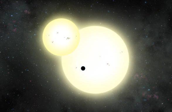 Rappresentazione artistica del transito del pianeta Kepler-1647 b contro i dischi delle sue stelle