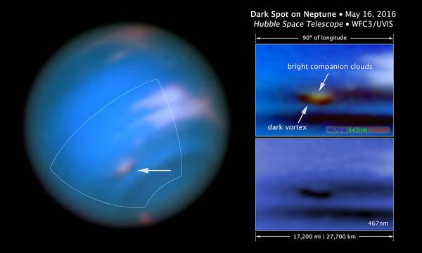 La misteriosa macchia scura su Nettuno è un vortice di nubi