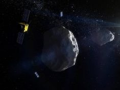 Rappresentazione artistica della missione Aim (Asteroid Impact Mission) proposta dall'Agenzia Spaziale Europea (Esa), che prevede l'invio di due mini-satelliti verso la piccola 'luna' dell'asteroide Didimo (fonte: ESA - ScienceOffice.org)