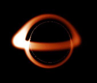 Aspetto previsto di un buco nero non rotante – Crediti: Brandon Defrise Carter. Wikimedia common