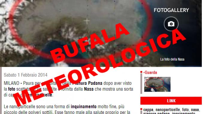 Bufale: Una nube sopra la Pianura Padana?