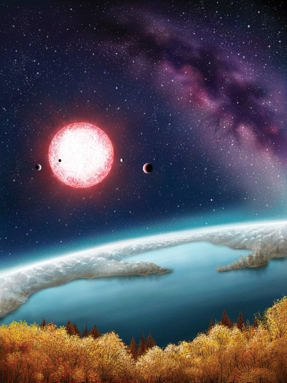 Illustrazione artistica dell'esopianeta Kepler-186f. Credit: Danielle Futselaar