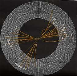 La collisione registrata al PETRA è un esempio della struttura a tre getti di molte collisioni con annichilazioni elettrone-positrone, avanzata come prova dell'esistenza di gluoni.