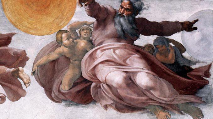 """Michelangelo, """"Creazione degli astri e delle piante"""", particolare (volta della Cappella Sistina)"""