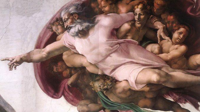 """Michelangelo, """"Creazione di Adamo"""", particolare (volta della Cappella Sistina)"""