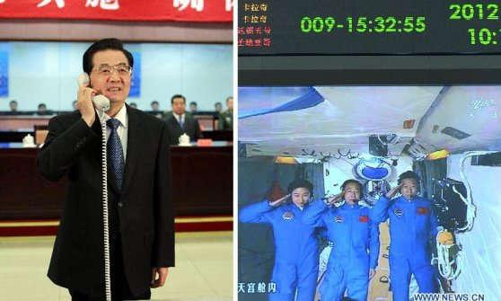 Il presidente cinese telefona ai tre astronauti a bordo della Tiangong-1