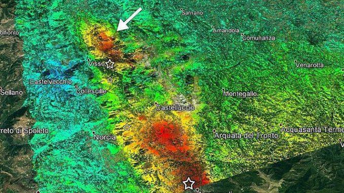 Le prime immagini dei satelliti: così il terreno si è accartocciato dopo il sisma