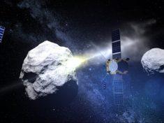 La sonda AIM e i CubeSats assistono all'impatto di DART con la luna dell'asteroide.|ESA