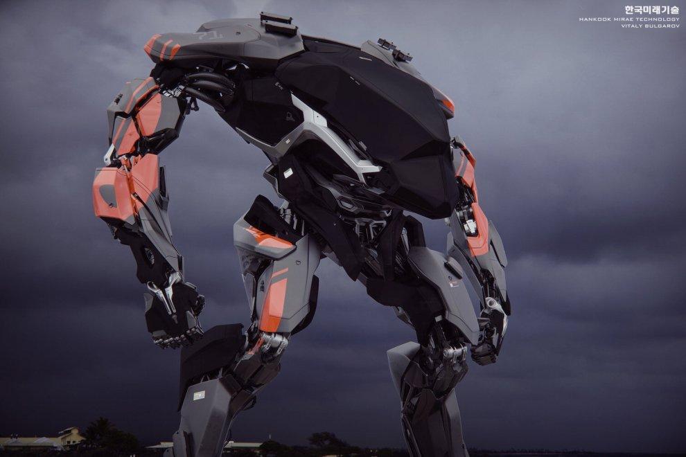 L'umanoide ''bipede'' disegnato da Vitaly Bulgarov (@vitalybulgarov), già consulente sul set di RoboCop e Transformer 4 (2014) ha mosso i suoi primi passi nel laboratorio sud-coreano della Hankook Mirae Technology a Gunpo. Al suo interno un pilota umano che comanda il robot in acciaio e fibra di carbonio alto quattro metri, che pesa 1,5 tonnellata