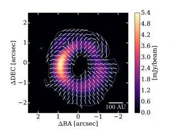 Il modello di polarizzazione ottenuto con ALMA attorno alla giovane stella HD 142527. I contorni mostrano l'intensità totale delle emissioni di polveri e l'immagine a colori mostra l'intensità delle emissioni polarizzate. Le barre bianche indicano la direzione di polarizzazione. Crediti: ALMA (ESO / NAOJ / NRAO), Kataoka et al.