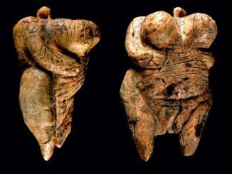 La statuetta di avorio ritrovata nella grotta di Hohle Fels (Germania), vista di lato e di fronte. Età: 35 mila anni. Ha testa piccola, seni enormi, fianchi larghi e ventre gonfio. La vulva è accentuata e sul corpo ci sono diversi segni rituali.