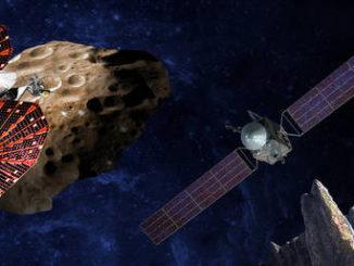 Rappresentazione artistica delle nuove missioni della Nasa. A sinistra Lucy, vicino a uno degli asteroidi troiani di Giove; a destra Psyche vicino all'asteroide 16 Psyche (fonte: SwRI e SSL/Peter Rubin, NASA)