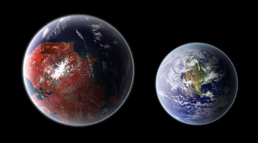 KEPLER 442B (ESI=0.84). Questo pianeta roccioso grande 1,3 volte la Terra (e con 2,3 volte la sua massa) è stato individuato nel 2015 attorno a una stella più fredda del Sole, a 1100 anni luce da noi. Ha un periodo orbitale di 112 giorni e si trova nella zona abitabile della stella, ma ha una temperatura stimata di -40 °C. Un po' freddino, ma nei limiti della sopportazione: su Marte, durante l'inverno, la temperatura nei pressi dei poli arriva a -125 °C. Qui una raffigurazione di Kepler 442b paragonato alla Terra.| PH03NIX1986/WIKIMEDIA COMMONS