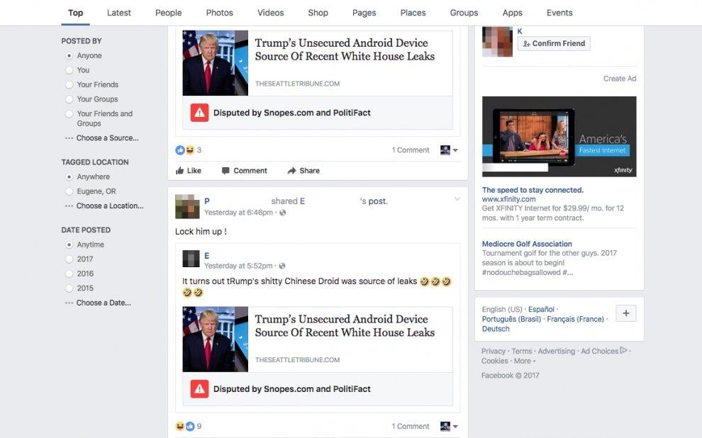 Trump e i leaks: la prima notizia bollata da Fb come fake news