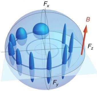 Rappresentazione schematica dell'evoluzione (la spirale blu) di uno spin e della sua incertezza mentre orbitano in un campo magnetico. L'incertezza, inizialmente uguale in tutte le direzioni, viene schiacciata e confinata nella sola componente al di fuori del piano, rendendo così le due componenti sul piano estremamente certe. Crediti: Icfo