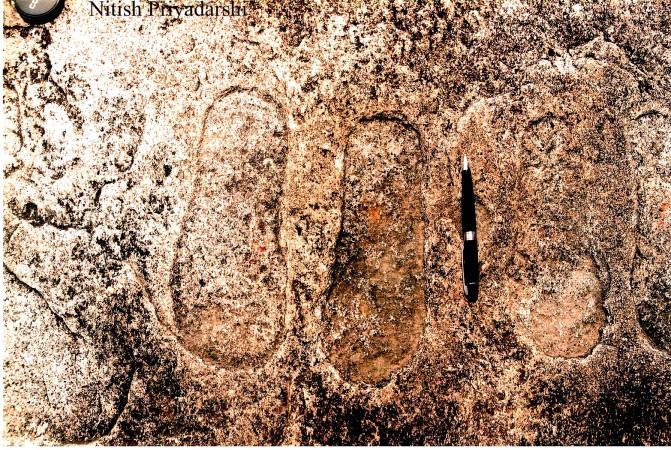 Impronte su una roccia del villaggio di Piska Nagri, nei sobborghi della città di Ranchi, nello Stato di Jharkahnd, in India. (NITISH PRIYADARSHI)