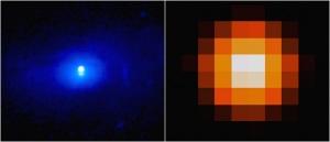 Il buco nero ripreso ai raggi X (a sinistra) e in luce visibile (a destra). | NASA