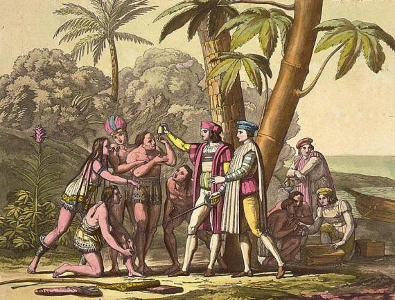 Cristoforo Colombo mentre mostra oggetti a uomini e donne native americane sulla spiaggia.