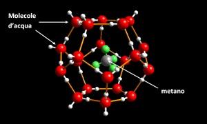 Clatrato di metano: molecole d'acqua inglobano molecole di metano. | ASSOELETTRICA