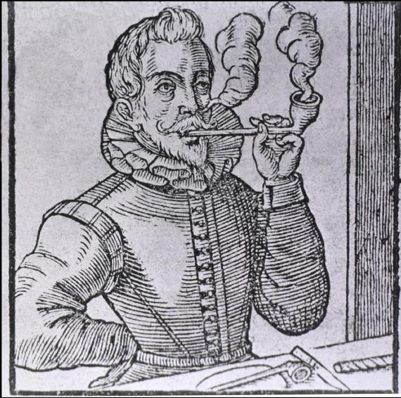Un stampa olandese del XVI secolo rappresenta un fumatore di pipa.
