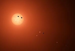 La famiglia planetaria di TRAPPIST-1 così come potrebbe apparire a un ipotetico osservatore che arrivasse nelle vicinanze. | NASA/JPL-CALTECH