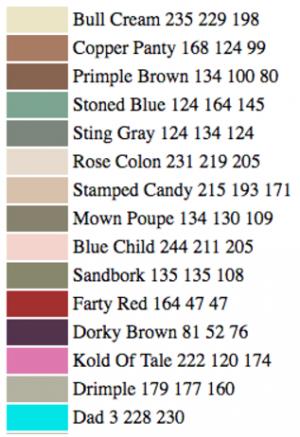 Parte della lista dei nomi assegnati dal software ad altrettante tonalità di colore. | JANELLE SHAE