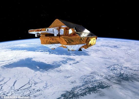 Il satellite Earth Explorer CryoSat dell'ESA, dedicato al monitoraggio dei cambiamenti nello spessore del ghiaccio polare.| ESA / AOES MEDIALAB