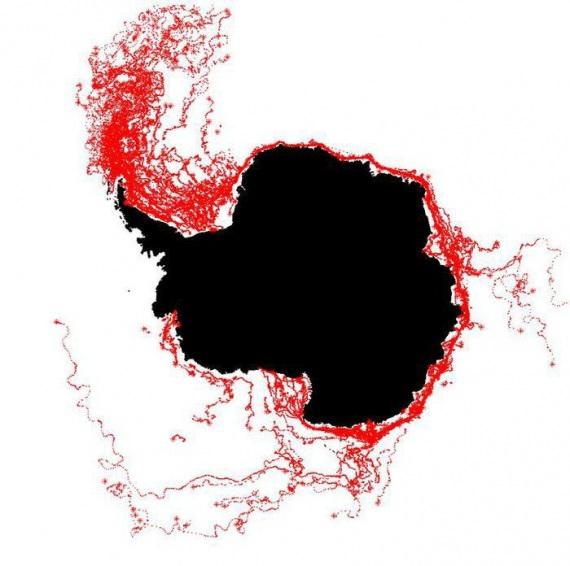 I percorsi degli iceberg dal 1999 al 2010