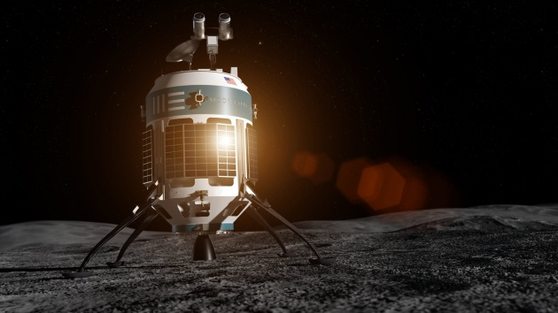Illustrazione: MX-1E sulla superficie della Luna. Alto poco meno di 1,5 metri, può trasportare un carico di 30 kg: «È appena un po' più grande del robot R2-D2 di Star Wars», afferma Julie Arnold, di Moon Express.|MOON EXPRESS