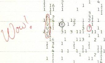 Il celebre commento 'Wow!' scritto da Ehman a margine dei dati. Crediti: Big Ear Radio Observatory e North American AstroPhysical Observatory (Naapo)