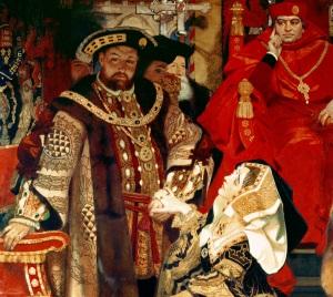 Enrico VIII con Caterina d'Aragona, che si opponeva al divorzio voluto dal re.