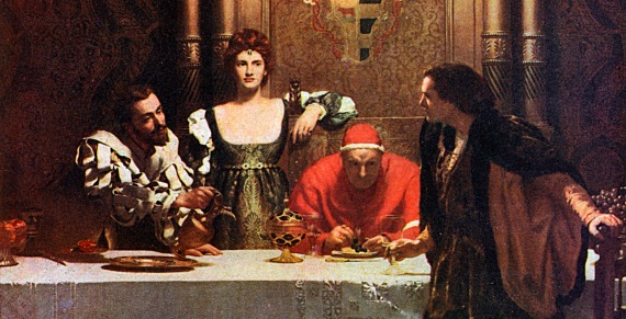 Il quadro Un bicchiere di vino con Cesare Borgia. Cesare versa il vino, Lucrezia è al centro, il Papa osserva. I Borgia hanno tutt'oggi la fama di avvelenatori.