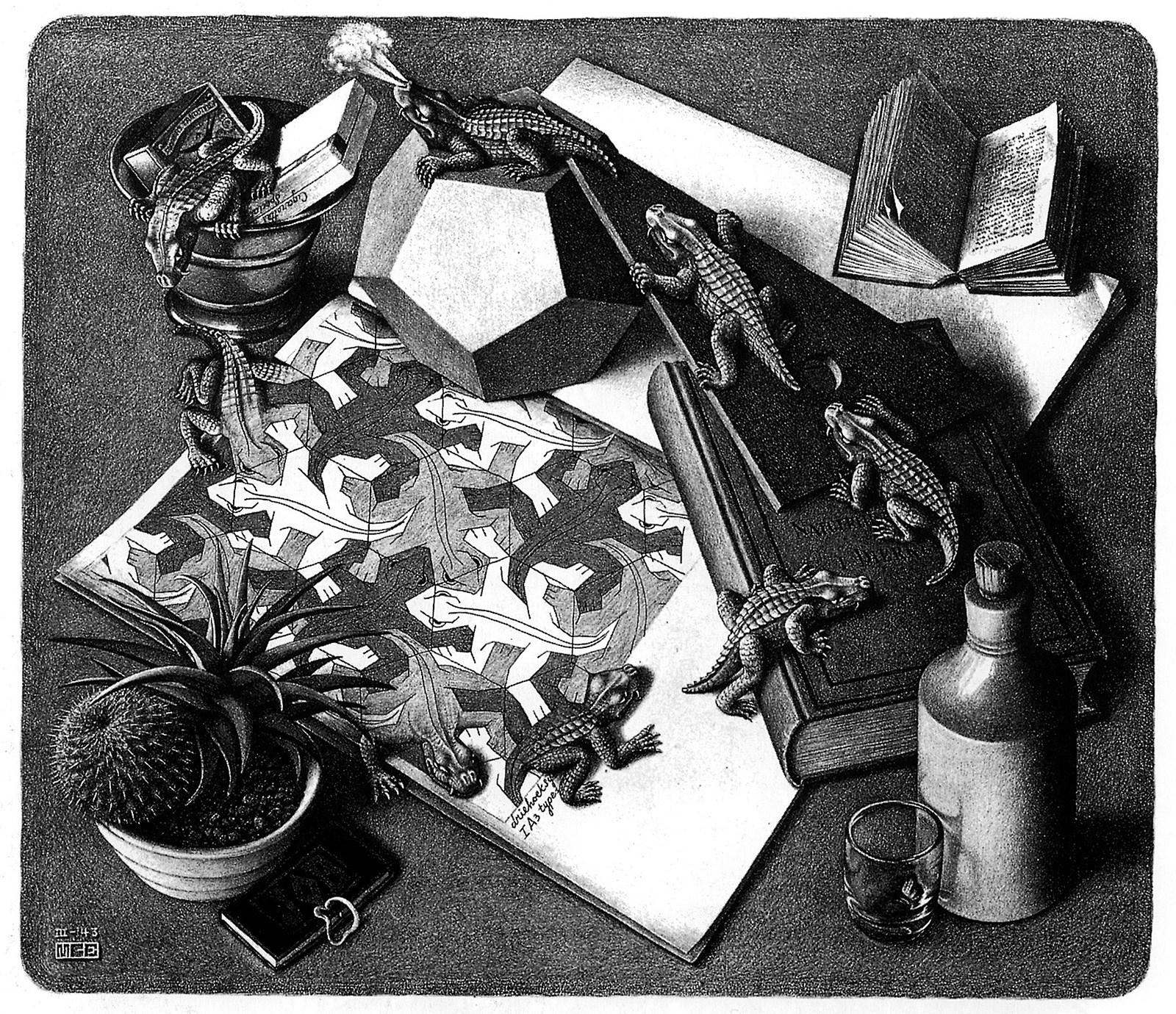 Rettili (1943) litografia di M. C. Escher.