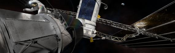 Illustrazione: la stazione spaziale in prossimità della Luna. Probabilmente non avrà un equipaggio permanente.| NASA