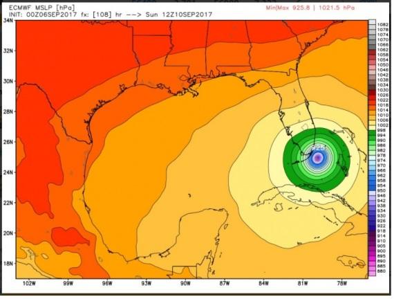 I valori della pressione dell'uragano Irma: maggiore è la differenza tra occhio e periferia, maggiore è la sua violenza.