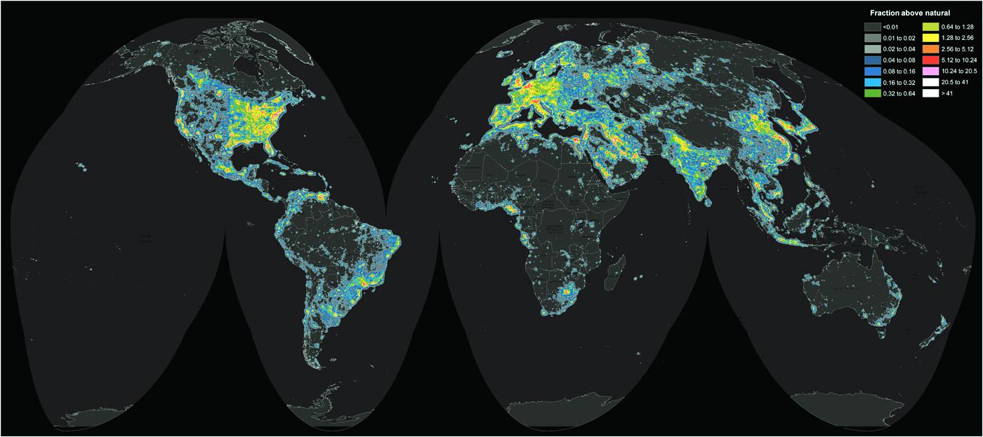 L'illuminazione artificiale è in aumento in quasi tutto il mondo