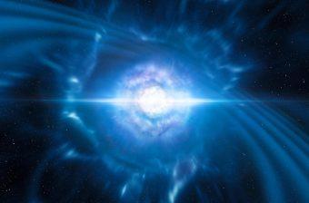 Rappresentazione artistica di due stelle di neutroni piccolissime, ma molto dense, sul punto di fondersi e esplodere come kilonova. L'impulso di radiazione emessa è un lampo di raggi gamma (Grb) corto. Crediti: Eso/L. Calçada/M. Kornmesser