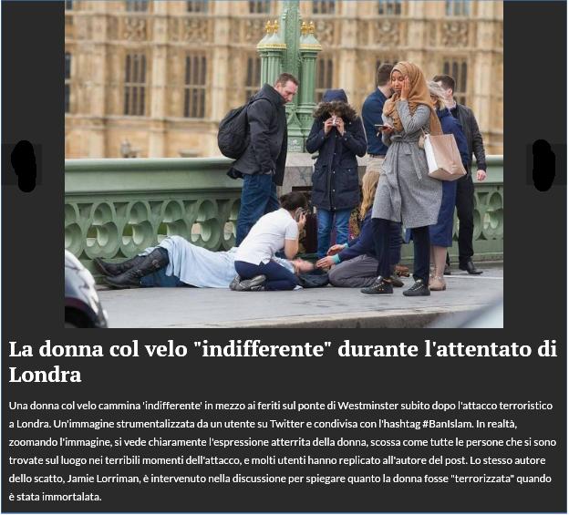 """La donna con il velo """"infiderrente"""" durante l'attentato di Londra"""