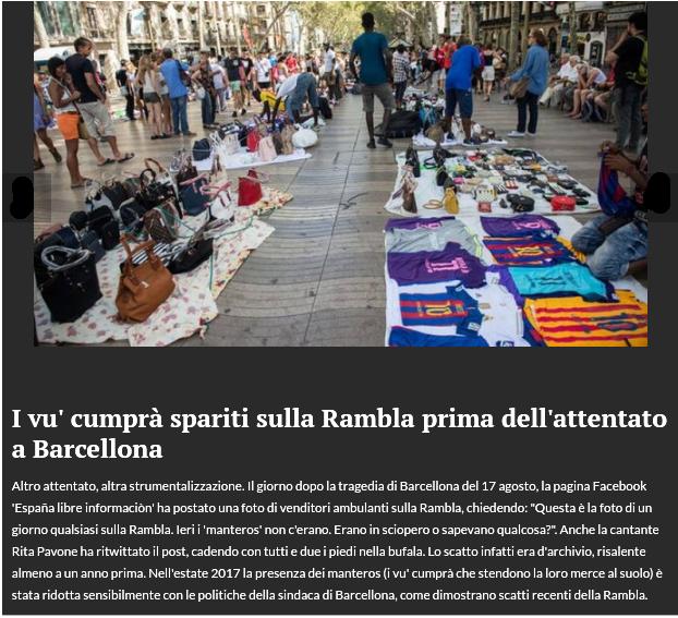I Vu' Comprà spariti dalla Rambla prima dell'attentato di Barcellona