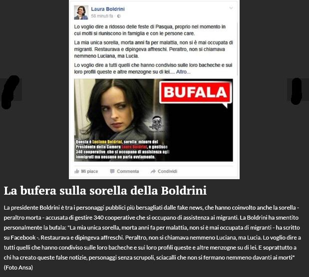 Bufera sulla sorella di Boldrini
