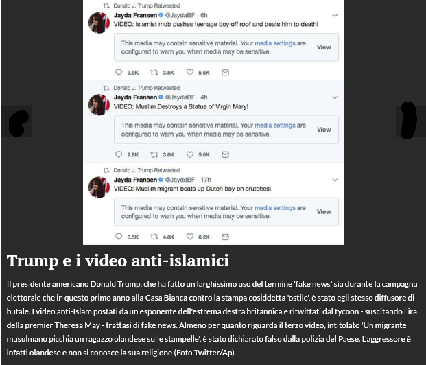 Trump ed il video anti-islamici