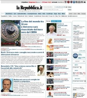 L'home page tarocca di Repubblica, in occasione della fine del mondo del LHC.