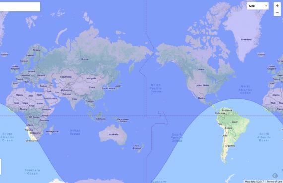 La zona più scura è quella che si trova nel raggio operativo del missile Hwasong-15| HTTP://OBEATTIE.GITHUB.IO/