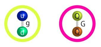 Le strutture fondamentali di un pione (a sinistra) e di un'ipotetica Simp (particella massiva fortemente interagente). I pioni sono formati da un quark up e un antiquark down, con un gluone (g) che li tiene insieme. La Simp qui proposta sarebbe invece formata da un quark e un antiquark tenuti insieme da un tipo di gluone (G) sconosciuto. Crediti: UC Berkeley