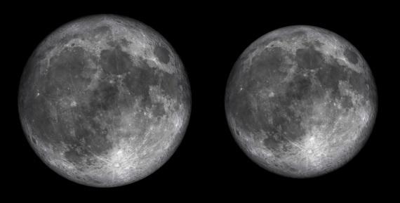 Il confronto con la Luna piena in perigeo (a sinistra) e in apogeo (a destra).Guarda un altro interessante confronto.| GIANLUCA MASI, VIRTUAL TELESCOPE PROJECT