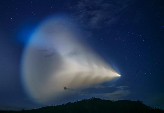 Il propellente del razzo ha facilitato la creazione dei cristalli di ghiaccio all'origine delle nubi. | Kagaya
